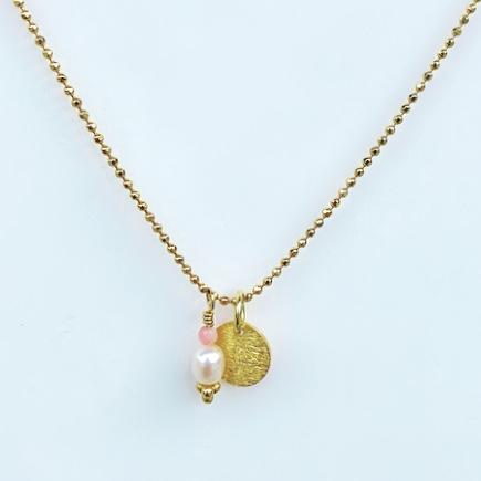 """Halskæde med mønter i forgyldt sølv, """"Coins of Hope- pearls"""" -Foto"""