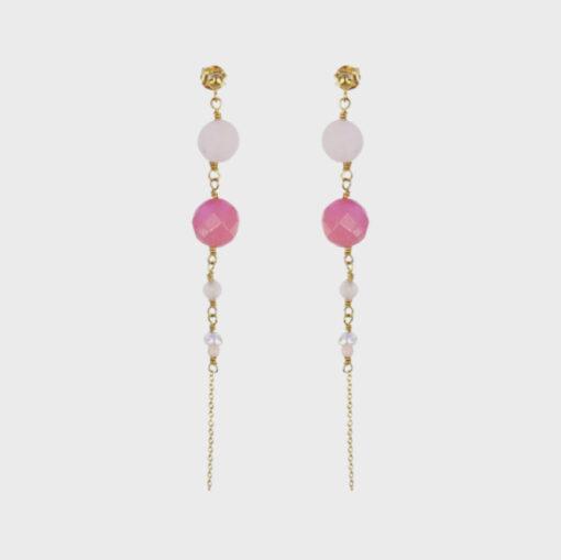 """Øreringe med pink agat, rosakvarts og perler, """"In love with pink"""" -Foto"""