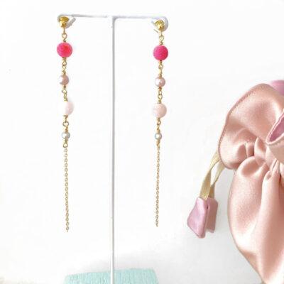 """Lange øreringe, pink """"Peony"""" -Foto"""