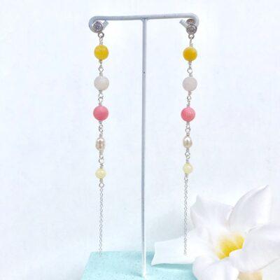 """Lange øreringe, gul og pink """"Exotic"""" -FOTO"""