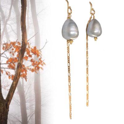 """Lange øreringe med perle """"Grey dreams"""""""