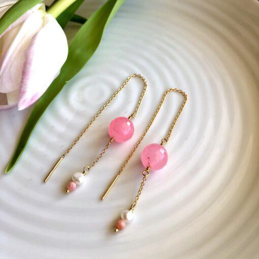 """Øreringe med pink agat, koral og ferskvandsperle """"Pink drops"""""""