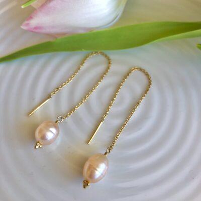 """Øreringe med ferskvandsperle, """"Pearl chain"""""""