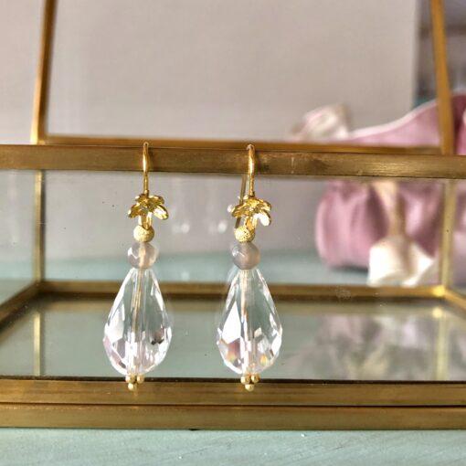 """Øreringe med krystal og onyx """"Clear crystal"""""""
