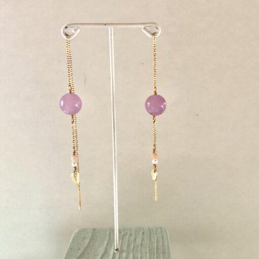 "Øreringe m. lilla jade ""purple drops"""