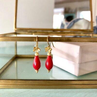 """Øreringe med rød koral """"Valentine"""""""