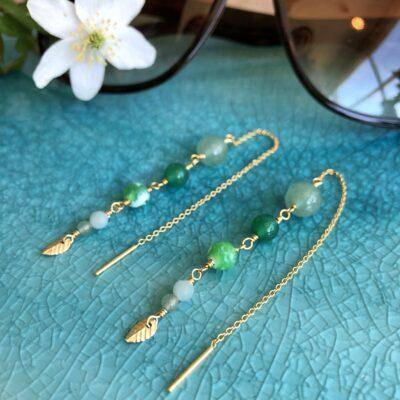 """Lange grønne øreringe med sten og perler """"Springtime"""" new edition"""