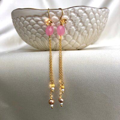 Øreringe, Pink flowers
