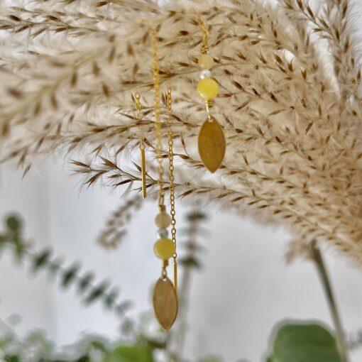 Øreringe, Pastel leaves, yellow
